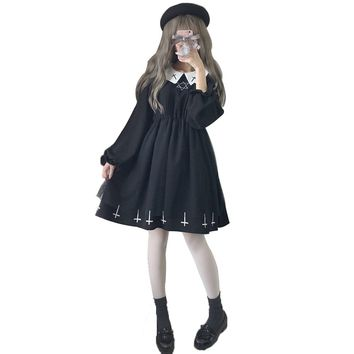 Harajuku Street Cross Cosplay Female Dress Japanese Gothic Style Star Tulle Dress Lolita Lantern Sleeve Cute Dresses