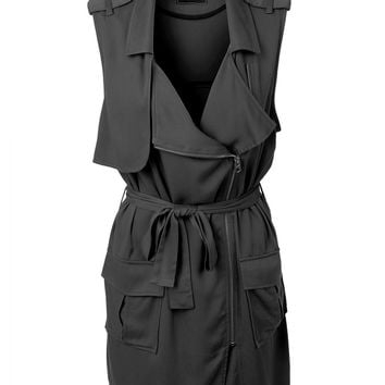 LE3NO Womens Lightweight Long Sleeveless Military Vest with Belt