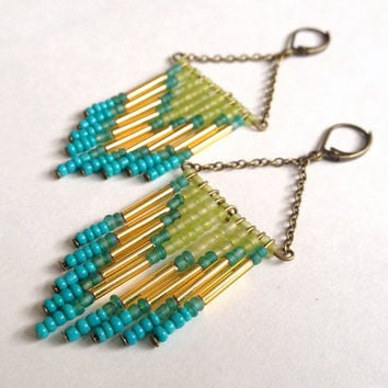 Lime and Turquoise Beaded Chevron Earrings