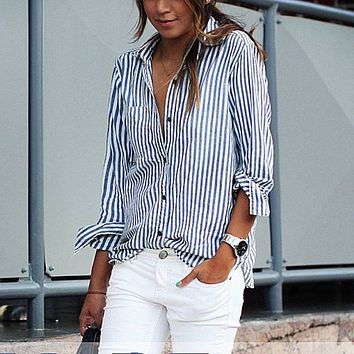 *Online Exclusive* Striped Long Sleeve button down Shirt