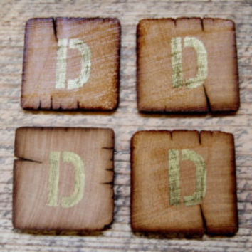 Set of 4 Coasters - Free Shipping - Reclaimed Wood Personalized w/ Any Letter A-Z - Great Wedding Favor