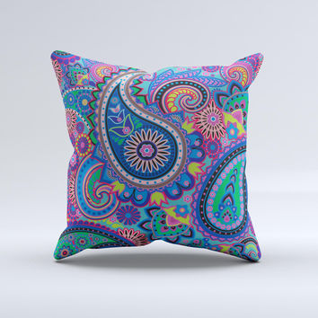 Bold Colorful Paisley Pattern ink-Fuzed Decorative Throw Pillow