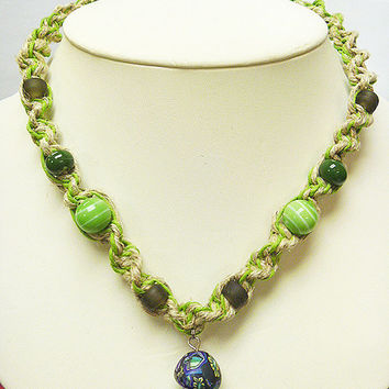 Mushroom  Hemp Necklace with Fimo Glass Mushroom Green black  handmade macrame jewelry hippie