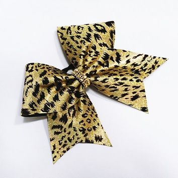 Cheetah cheer bow, cheer bow, gold cheer bow, leopard cheer bow, cheerleader bow, cheerleading bow, cheer bows, softball bow, dance bow, bow