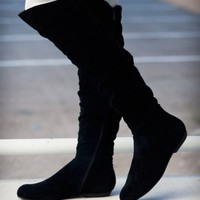 DbDk Quintus-01 Over The Knee Flat Suede Slouchy Boot (Black) - Shoes 4 U Las Vegas