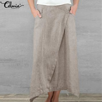 Celmia Vintage Women Maxi Skirts 2019 Summer Casual Loose High Waist Asymmetrical Linen Skirt Plus Size Long Pleated Beach Skirt