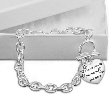 Chunky I Love You To The Moon and Back Charm Bracelet for all Causes