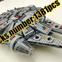 star space warship wars Building Blocks Force Awakens Millennium Falcon Model Kits Rey BB-8 compatiable with lego kid gift set