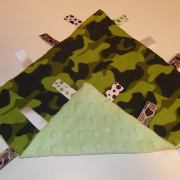 Camo Tag Ribbon Blanket Camouflage Baby Gift