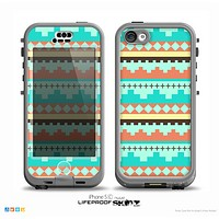 The Teal & Gold Tribal Ethic Geometric Pattern Skin for the iPhone 5c nüüd LifeProof Case