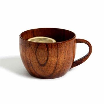 Natural Jujube Bar Wooden Cup Mugs With Handgrip Coffee Tea Milk Travel Mugs For Home