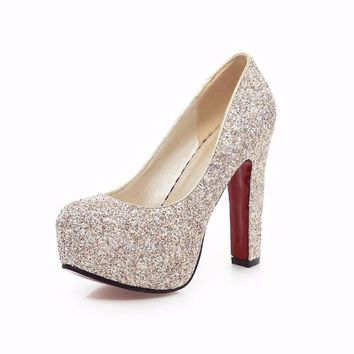 Fashion Online Glitter Wedding Shoes Pumps