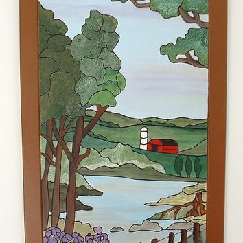 Summer Landscape, Wood Wall Art, Home Decor, Wall Hanging