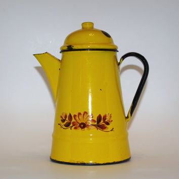 Enamel yellow and black kettle Enamelware Coffee Pot Teapot with lid enamel water kettle vintage Soviet Pot, Big enamel jug Enameled pitcher