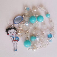 Boop Boop Be Doop Upcycled Handmade Necklace with Vintage Glass and Lucite Beads and Betty Boop Pendant // 60% to Susan G Komen for the Cure