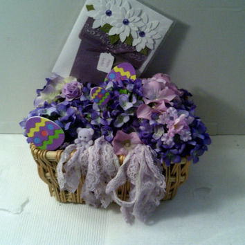 Purple EASTER Egg BASKET  with MATCHING Easter Greetings Card Purple teddy bear basket