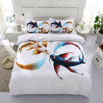 Duvet Cover Fish Bedding Sets Bedspread Bed Linen For Children Bed linen 3d bed Clothes Twin Bedding Sets Luxury Comforters F