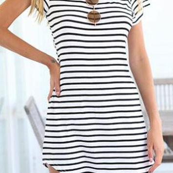 White Striped Short Sleeve Dress