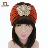 Fashion  Women Girls Crochet Knitted Turban Head Hair Band Winter Pearls Flower Ear Warmer Headband Knit Headwrap
