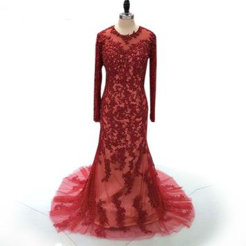 Evening Dress Red Tulle Beaded Prom Dresses Long Sleeve O-neck Mermaid Evening Dress