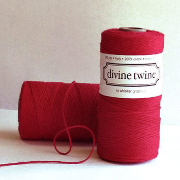 Solid Red Divine Twine, Bakers Twine, 240 yards / 219 m. For Crafting, Gift Wrapping, Valentine's Day, Packaging,