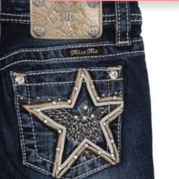 Miss Me Girls Bootcut Jeans with Star Pocket JK7567B
