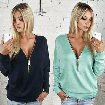 2016 Fashion t-shirt Long Sleeve Tee Shirt Sexy V-neck women Tops Solid color For Women T Shirt with zippers Camisetas Mujer MM1