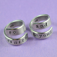 Hand Stamped Aluminum Couples Ring Set - to infinity and beyond - Shiny,  Skinny, Newsprint Font Version