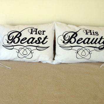 Her Beast and His Beauty Pillow Cases for Pillows Weddings Engagement Couples Gifts Cotton Anniversary
