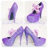 Lilac Glitter High Heels, Purple Platform Prom Pumps