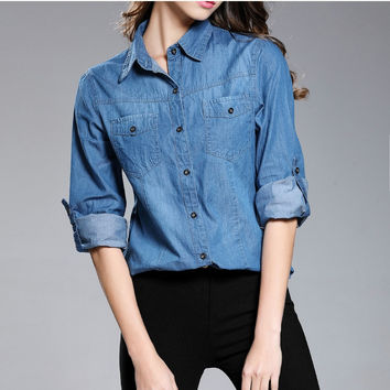 2017 Fashion Style Women Clothing Long-sleeve Denim Shirt Washed Solid Turn-down Collar Blouses Female Slim Cotton Denim Shirts