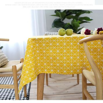 Fashion Linen Cotton Tablecloths Rectangular Dining Table Cover Yellow Modern Rectangular Table Cloth For Home