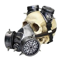 Punk Gothic Silver Resin Military Game Steampunk Gas Mask Goggles Women /Men Cosplay Props Halloween Costume Accessories
