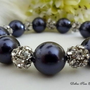 Swarovski Navy Blue Pearl Bracelet Antique Silver Crystal Bracelet Dark Blue Wedding Bridal Bridesmaid Jewelry Mother of Bride Groom Gift