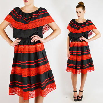vintage 70s 80s red black LACE RUFFLE MEXICAN dress / tiered ruffle dress / off the shoulder mexican dress / lace mexican midi dress / l xl