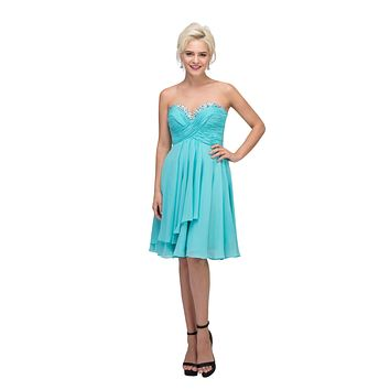CLEARANCE - Chiffon Knee Length Semi Formal Dress Tiffany Blue Strapless (Size Small)