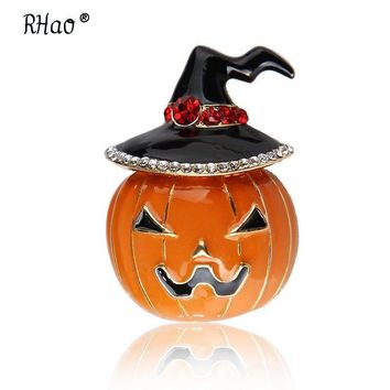RHao Halloween Orange Pumpkin Brooch Enamel pin Black Magic Hat cartoon Brooches for Women Men Kids broach Clothes accessories