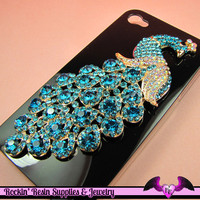 XL AQUA Blue PEACOCK Crystal Covered Gold Alloy Bird Decoden Cabochon Cellphone Decoration