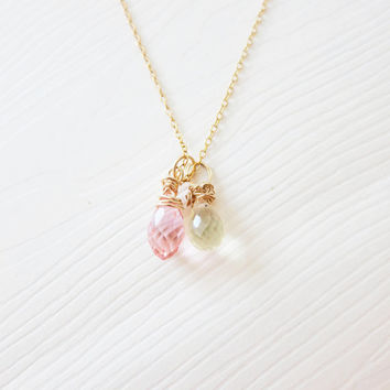 Crystal Quartz Necklace, Wedding Party Jewelry, Gold Bridesmaid Jewelry, Lemon Quartz, Pink Briolette Crystal