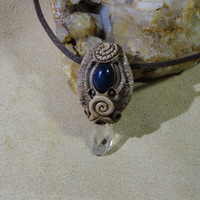 Lapis Quartz Crystal  Pendant Medieval Sorcery Dragon Necklace Sam Art Gemstone Clay Jewelry
