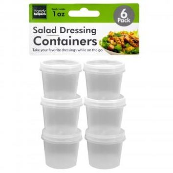 6 Piece Reusable Dip / Salad Dressing 1oz Container Cup Set with Snap Airtight Lids