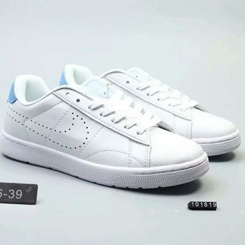 Nike Tennis Classic pioneer low to help leather real two layers F-SSRS-CJZX White blue