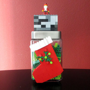 Lego Christmas Stocking Chimney Birthday Party Gift Centerpiece.LEGO Christmas Birthday Gift.Monogram.LEGO Candy Jar.Hostess Gift.Home Decor