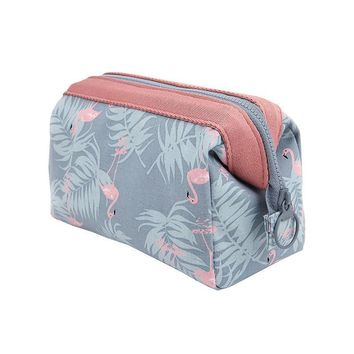 Waterproof Flower Plant Flamingo Cosmetic Makeup Bag Pencil Case Coin Pouch Zipper Purse