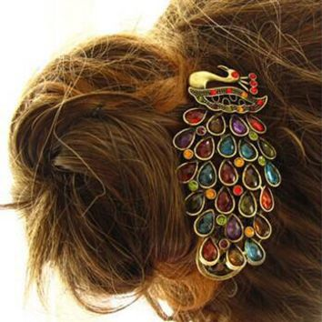 Free Shipping 1 Pcs New Fashion Ladies Vintage Colorful Crystal Peacock Barrette Hairpin Hair Clip MK0231