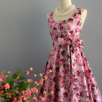 My Lady - Purple Pink Floral Dress Spring Summer Sundress Pink Floral Bridesmaid Dresses Country Dress Purple Floral Party Prom Dress XS-XL