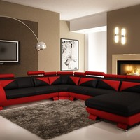 Divani Casa 7395 Modern Red and Black Leather Sectional Sofa with Headrests