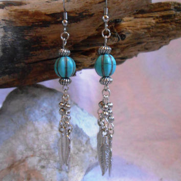 Handmade Turquoise Earrings with Silver Feathers, Native American Inspired, OOAK, Mountain Man, Rendezvous, Hippie, Boho