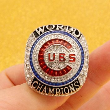 Custom championship ring  Drop Shipping Mens Rings 2017 Chicago Cubs Player name of Zonbrist World Solid Championship Ring