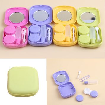 1pc Easy Carry PlasticContact Lenses Box Travel Glasses Contact Lens Case Eyewear Accessories Travel Kit Mirror Container